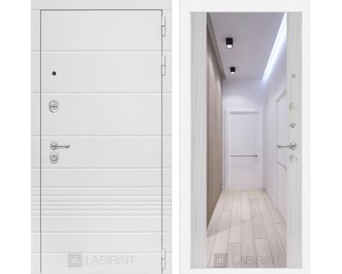 Входная дверь Labirint Трендо с Зеркалом Максимум Сандал белый