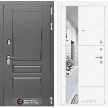 Двери Лабиринт входная дверь labirint Платинум с Зеркалом 19 (цвет Белый софт)