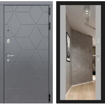 Входная дверь Labirint COSMO с зеркалом Максимум (цвет Грей софт)