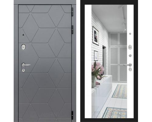 Входные двери с зеркалом Входная дверь Labirint COSMO с зеркалом Максимум (цвет Белый софт с зеркалом)
