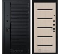 Входная дверь PIANO 01 - Беленый дуб, стекло черное