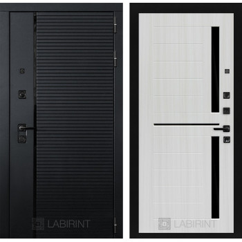 Входная дверь в квартиру PIANO 02 - Сандал белый, стекло черное