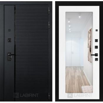 Двери Лабиринт входные двери Лабиринт Пиано  с зеркалом 18 - Белое дерево(dveri labirint piano)