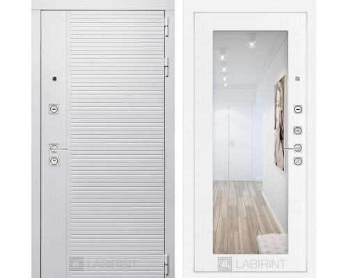 Входная дверь PIANO WHITE с зеркалом 18 - Белое дерево
