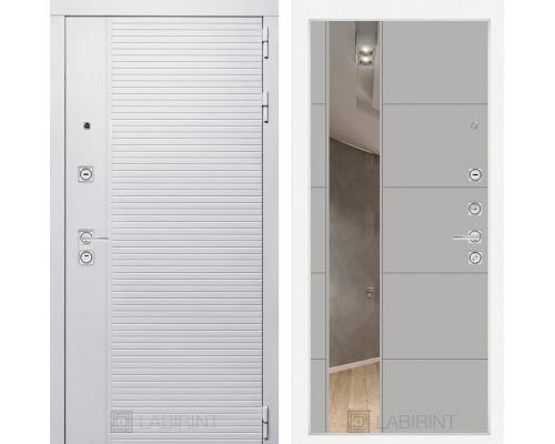 Входная дверь PIANO WHITE с зеркалом 19 - Грей софт