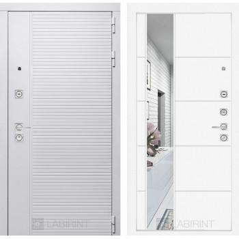 Входная дверь PIANO WHITE с зеркалом 19 - Белый софт