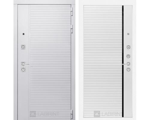 Входная дверь PIANO WHITE 22 - Белый софт, черная вставка
