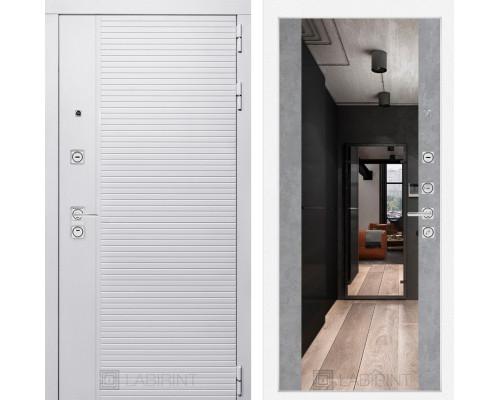 Входная дверь PIANO WHITE с зеркалом Максимум - Бетон светлый