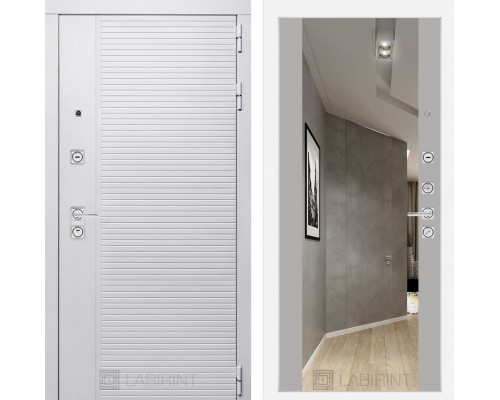 Входная дверь PIANO WHITE с зеркалом Максимум - Грей софт