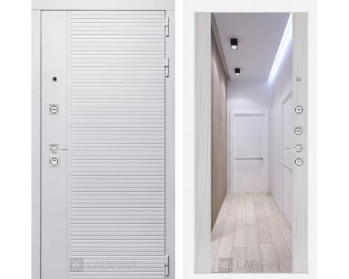 Входная дверь PIANO WHITE с зеркалом Максимум - Сандал белый