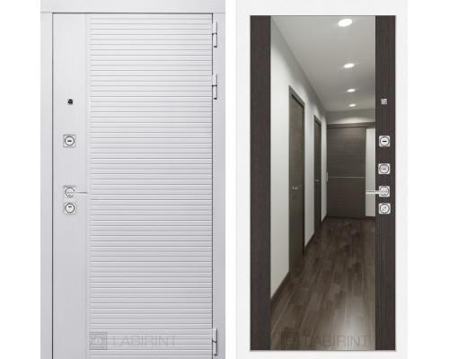 Входная дверь PIANO WHITE с зеркалом Максимум - Венге