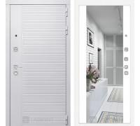 Входная дверь PIANO WHITE с зеркалом Максимум - Белый софт