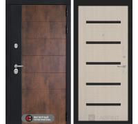 Входная дверь ТЕХНО 01 - Беленый дуб, стекло черное
