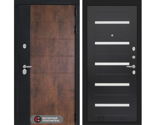 Входная дверь ТЕХНО 01 - Венге, стекло белое