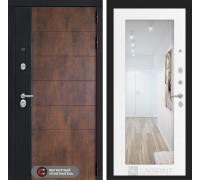 Входная дверь ТЕХНО с зеркалом 18 - Белое дерево