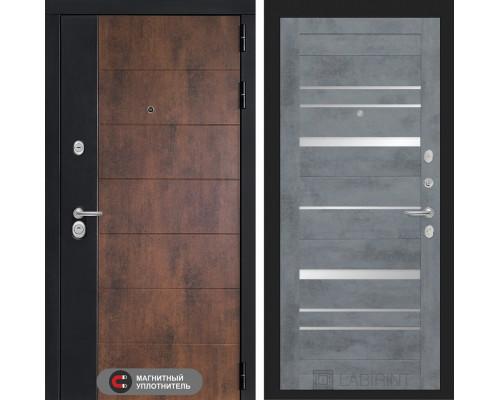 Входная дверь ТЕХНО 20 - Бетон темный, зеркальные вставки