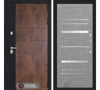 Входная дверь ТЕХНО 20 - Бетон светлый, зеркальные вставки