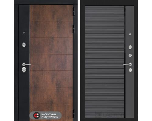 Входная дверь ТЕХНО 22 - Графит софт, черная вставка