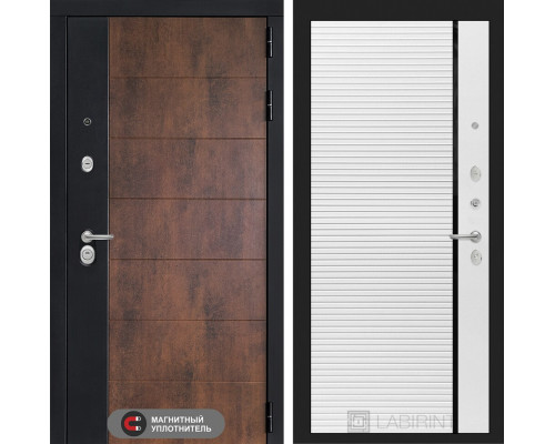 Входная дверь ТЕХНО 22 - Белый софт, черная вставка