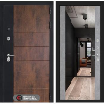 Входная дверь ТЕХНО с зеркалом Максимум - Бетон светлый