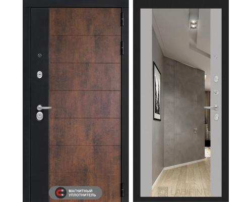Входная дверь ТЕХНО с зеркалом Максимум - Грей софт