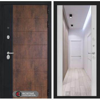 Входная дверь ТЕХНО с зеркалом Максимум - Сандал белый