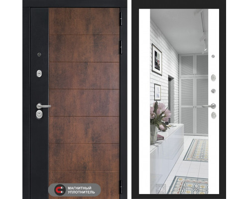 Входная дверь ТЕХНО с зеркалом Максимум - Белый софт