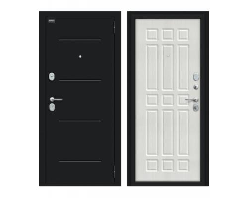 Входная дверь Браво/Dveri Bravo/Мило 104.52 Букле черное/Bianco Veralinga, двери браво