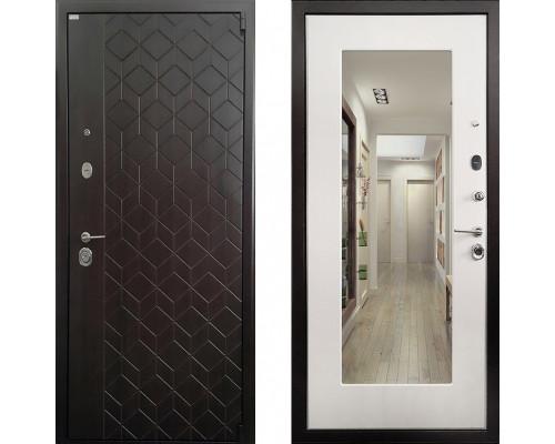 Металлическая дверь Ратибор Квант 3К с зеркалом (цвет Лиственница Беж)