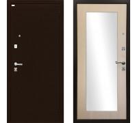 Зеркальная металлическая дверь Ратибор Люкс зеркало (Цвет ЭкоДуб) с зеркалом