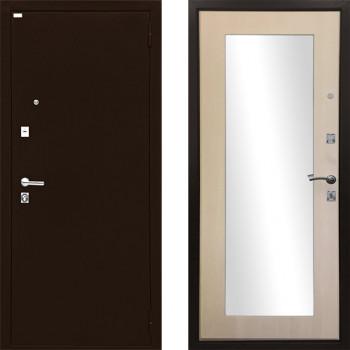Зеркальная металлическая дверь Ратибор Люкс зеркало (Цвет ЭкоДуб)