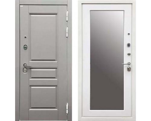 Металлическая дверь Ратибор Лондон 3К с зеркалом (цвет Силк Сноу)