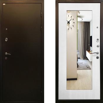 Металлическая дверь Ратибор Милан с зеркалом Белый Ясень