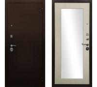 Входная стальная дверь с зеркалом Ратибор Оптима зеркало (Цвет Лиственница Беж)
