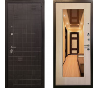 Металлическая дверь Ратибор Силуэт 3К с зеркалом (цвет ЭкоДуб)
