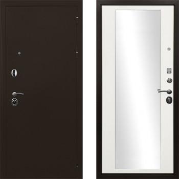 Входная дверь с зеркалом Ратибор Троя 3К с зеркалом (Белая эмаль с зеркалом)