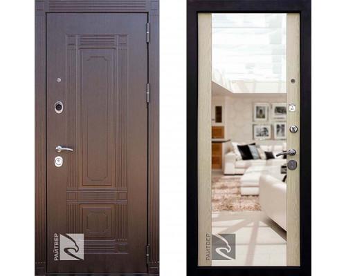 Металлическая дверь Райтвер Мадрид с зеркалом Беленый Дуб