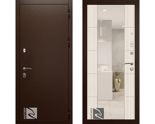 Входная дверь Райтвер Президент Меланж Светлый с зеркалом