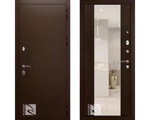 Входная металлическая дверь Райтвер Президент Меланж Темный с зеркалом