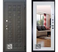 Входная металлическая дверь Райтвер Сенатор с зеркалом Беленый Дуб