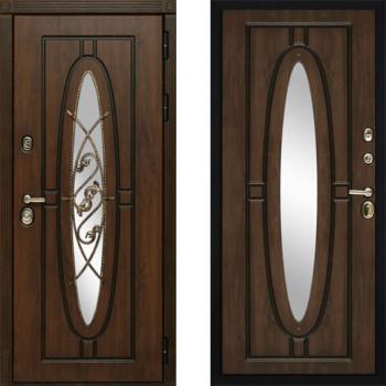 Металлическая дверь Сударь Монарх с окном и ковкой