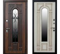 Металлическая дверь Сударь Рим с окном беленый дуб