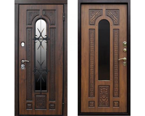 Металлическая дверь Сударь Рим с окном золотистый дуб