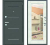 Зеркальная входная дверь с зеркалом Цитадель Гарда Фацет с зеркалом белый ясень