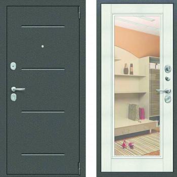 Зеркальная входная дверь Цитадель Гарда Фацет с зеркалом белый ясень